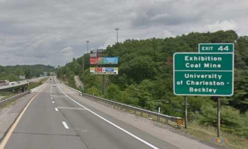 wv interstate 64 west virginia i64 beckley rest area mile marker 44 westbound off ramp exit