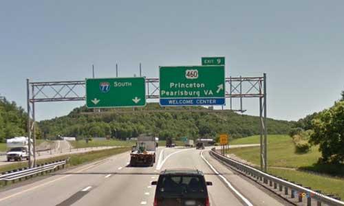 wv interstate 77 west virginia i77 princeton welcome-center mile marker 9 southbound off ramp exit