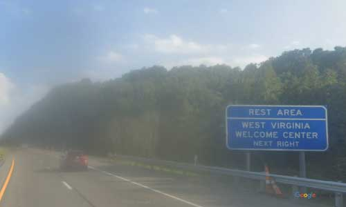 wv interstate 79 west virginia i79 morgantown welcome center mile marker 158 southbound off ramp exit